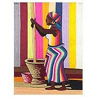 Silk wall art, 'A Woman Pounding Palm Nuts' - Silk Wall Art of a Woman Cooking from Ghana