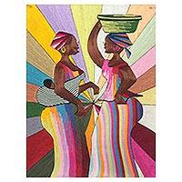 Silk wall art, 'What's New' - Silk Wall Art of African Women from Ghana
