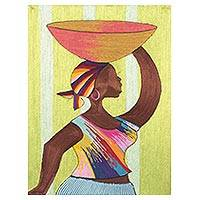 Silk wall art, 'A Misty Day in Tamale' - Silk Wall Art of an African Woman from Ghana
