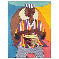 Silk wall art, 'Northern Drummer' - Handmade Silk Wall Art of a Drummer from Ghana