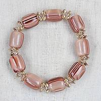 Recycled glass and plastic beaded stretch bracelet, 'Soft Pink' - Recycled Glass and Plastic Beaded Stretch Bracelet in Pink