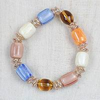 Recycled glass and plastic beaded stretch bracelet, 'Peak Beauty' - Colorful Recycled Glass and Plastic Beaded Stretch Bracelet
