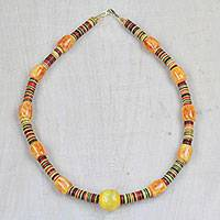 Recycled plastic beaded necklace, 'Precious Environment' - Recycled Plastic Beaded Necklace from Ghana