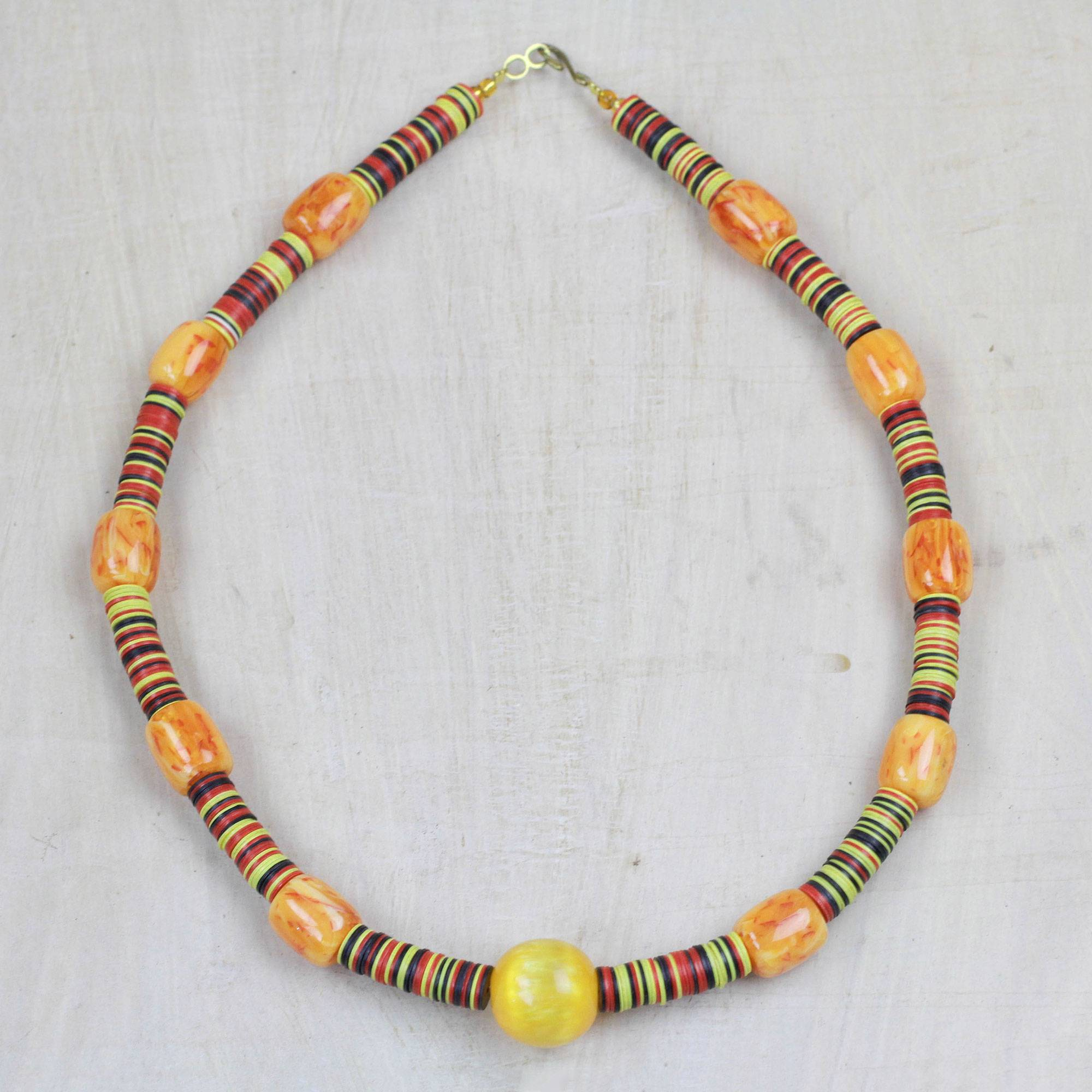 282c2d941ee01 Recycled Plastic Beaded Necklace from Ghana, 'Precious Environment'