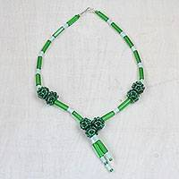 Recycled glass beaded pendant necklace, 'Green Peace' - Recycled Glass Beaded Pendant Necklace in Green from Ghana