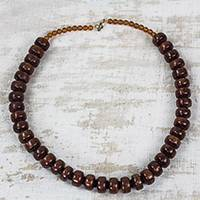 Recycled plastic beaded necklace, 'Peaceful Calm' - Eco Friendly Recycled Plastic Dark Brown Beaded Necklace