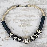 Bone and wood beaded necklace, 'Abstract Opulence' - Black and White Bone and Sese Wood Beaded Necklace