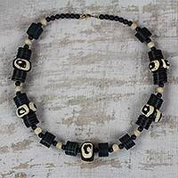 Recycled plastic and wood beaded bracelet, 'Good Feeling' - Black and White Sese Wood and Recycled Plastic Bracelet