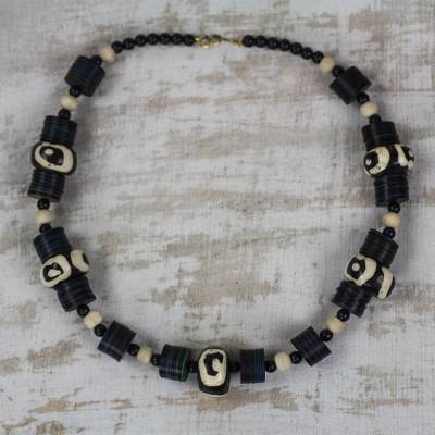 Wood and recycled plastic beaded necklace, 'Good Feeling' - Black and White Sese Wood and Recycled Plastic Necklace