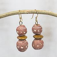 Ceramic and wood dangle earrings, 'Terracotta Splendor' - Ghanaian Terracotta Ceramic and Sese Wood Dangle Earrings