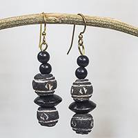 Ceramic and wood dangle earrings, 'Pottery Stacks' - Black and White Ceramic and Sese Wood Dangle Earrings