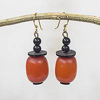 Wood and coconut shell dangle earrings, 'Happy Helper' - Orange Wood and Coconut Shell Handcrafted Dangle Earrings