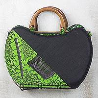 Cotton handle handbag, 'Green Dream' - Green and Black Cotton Fabric Cane Handle Handbag