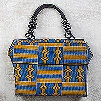 Cotton handle handbag, 'Grace' - Blue and Gold Printed Cotton Handbag with Sese Beads