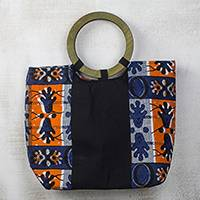 Cotton handle handbag, 'Segmented Splendor' - Blue and Orange Cotton Ghanaian Print Handle Handbag