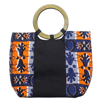 Blue and Orange Cotton Ghanaian Print Handle Handbag