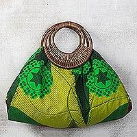 Cotton and rattan handle handbag, 'Colors of Accra' - Green Stars and Flowers Cotton and Rattan Handle Handbag
