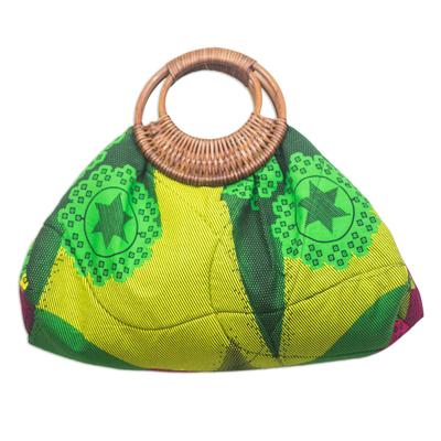 Green Stars and Flowers Cotton and Rattan Handle Handbag