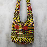 Cotton hobo handbag, 'Kente Fashion' - Ghanaian Kente Inspired Colorful Cotton Hobo Handbag
