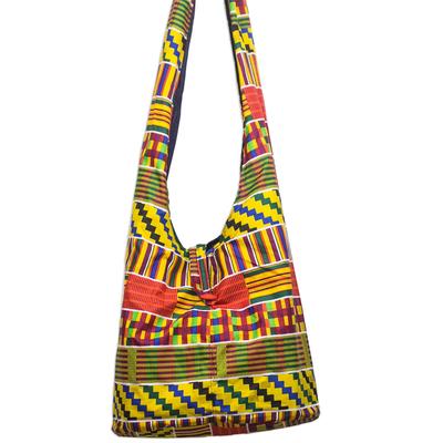 b94124c0d4e9 Ghanaian Kente Inspired Colorful Cotton Hobo Handbag - Kente Fashion ...