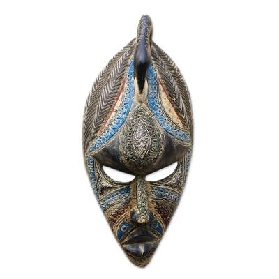 Bird-Themed Colorful African Wood Mask from Ghana