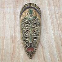 African wood mask, 'Rich Nature' - Earth-Tone African Sese Wood Mask from Ghana