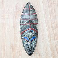African wood mask, 'Great Anigyi' - Red and Black African Wood Mask from Ghana