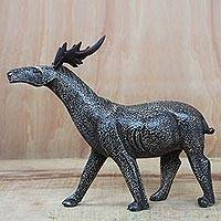 Wood sculpture, 'Royal Antelope' - Sese Wood Antelope Sculpture Crafted in Ghana