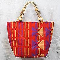 Cotton handle handbag, 'Sunrise Kente Color' - Orange Cotton Kente Print and Sese Wood Handle Handbag