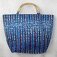 Cotton handle handbag, 'Blue Pebbles' - Blue and Purple Pebble Cotton Handle Handbag with Zipper