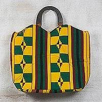 Cotton handle handbag, 'Fruitful Life' - Yellow and Green Kente-Inspired Cotton Handle Handbag