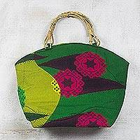 Cotton handle handbag, 'Fields of Fantasy' - Green Floral African Print Cotton Handbag Tote