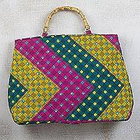 Cotton handle handbag, 'Chevron Style' - Pink Green and Yellow Chevron Cotton Handle Handbag