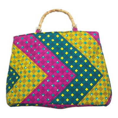 Pink Green and Yellow Chevron Cotton Handle Handbag
