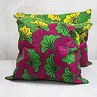Cotton cushion covers, 'Vibrant Leaf Fall' (pair) - Vibrant Leaf Motif Cotton Cushion Covers from Ghana (Pair)