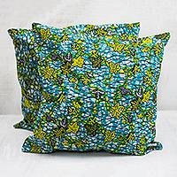 Cotton cushion covers, 'Watery Leaves' (pair) - Leaf Motif Cotton Cushion Covers from Ghana (Pair)