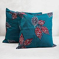Cotton cushion covers, 'Leaf Fall' (pair) - Leaf Motif Cotton Cushion Covers in Teal from Ghana (Pair)