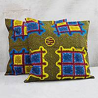 Cotton cushion covers, 'Ghanaian Windows' (pair) - Colorful Cotton Cushion Covers from Ghana (Pair)