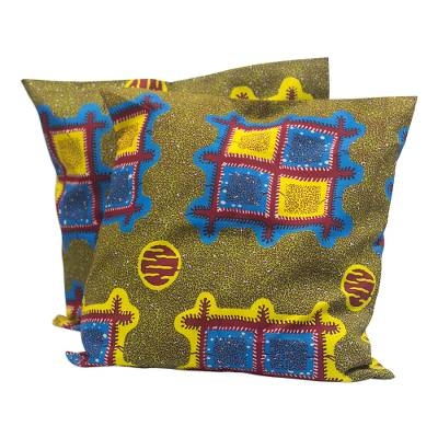 Colorful Cotton Cushion Covers from Ghana (Pair)