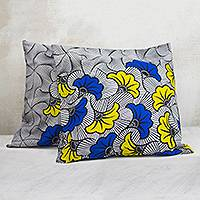 Cotton cushion covers, 'Falling Petals' (pair) - Printed Leaf Motif Cotton Cushion Covers from Ghana (Pair)