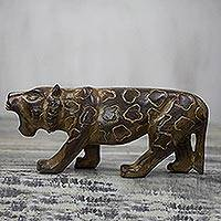 Wood sculpture, 'Roaring Cheetah' - Hand-Carved Sese Wood Cheetah Sculpture from Ghana