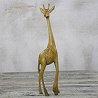 Wood sculpture, 'Yellow Giraffe' - Hand-Carved Sese wood Giraffe Sculpture from Ghana