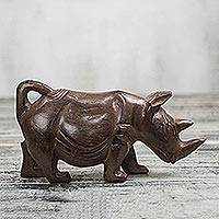 Wood sculpture, 'Brown Rhino' - Hand-Carved Sese Wood Rhino Sculpture from Ghana
