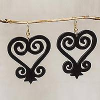Ebony wood dangle earrings, 'Odo Yede' - Heart and Home Motif Ebony Wood Dangle Earrings from Ghana