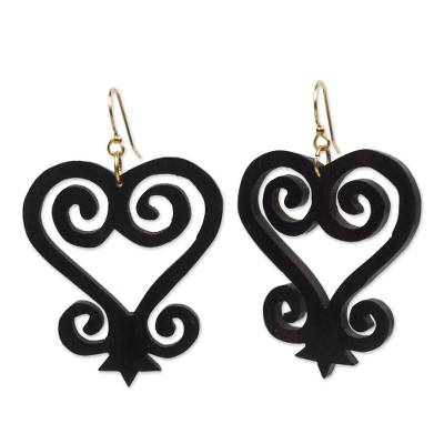 Heart and Home Motif Ebony Wood Dangle Earrings from Ghana