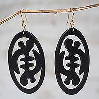 Ebony wood dangle earrings, 'Gye Nyame in Symmetry'
