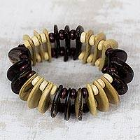 Coconut shell and wood beaded stretch bracelet, 'Brown Half-Moons' - Coconut Shell and Wood Beaded Stretch Bracelet from Ghana