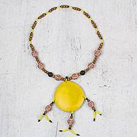 Wood and ceramic beaded pendant necklace, 'Savannah Sun' - Yellow Sun Pendant Necklace with Ceramic and Wood Beads
