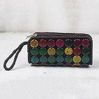 Coconut shell purse, 'Colorful Dots' - Handmade Colorful Coconut Shell Purse from Ghana
