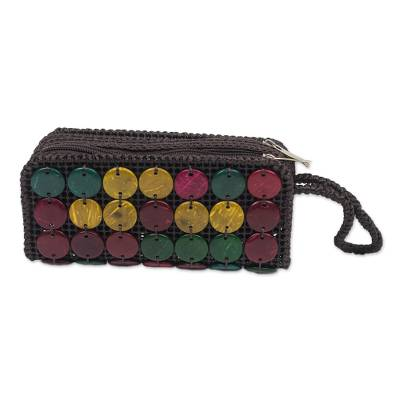 Handmade Colorful Coconut Shell Wristlet from Ghana